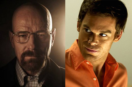 Walter White (Bryan Cranston) and Dexter Morgan (Michael C. Hall)